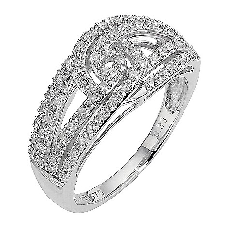 9ct white gold third carat diamond knot ring