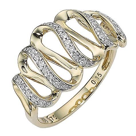 9ct gold diamond set multi wave ring
