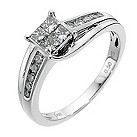 18ct white gold 1/2 carat diamond cluster ring - Product number 8487227