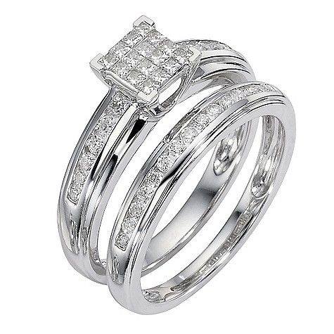 9ct white gold half carat diamond cluster bridal ring set