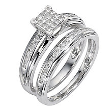 9ct white gold half carat diamond cluster bridal ring set - Product number 8487944