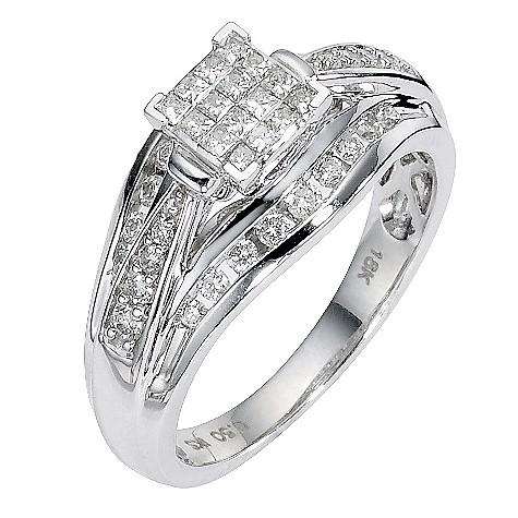 18ct white gold half carat diamond bridal ring set
