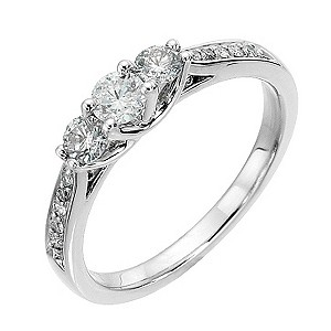 Platinum 1/2 carat diamond trilogy ring - Product number 8488347