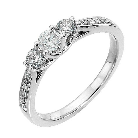 Platinum 1/2 carat diamond trilogy ring