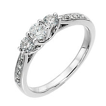 Platinum 0.50ct diamond trilogy ring - Product number 8488347