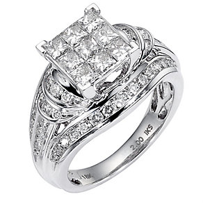 18ct white gold two carat diamond cluster bridal ring set - Product number 8488487