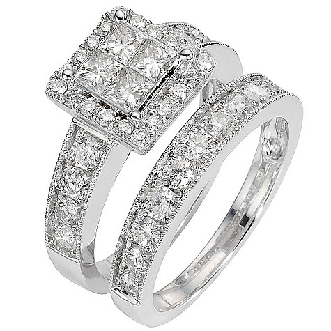 18ct white gold two carat diamond cluster bridal ring set