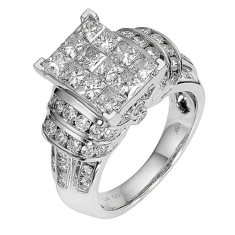 18ct white gold three carat princess cut diamond ring