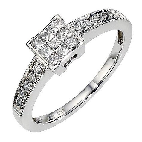 18ct white gold 1/3 carat diamond cluster ring