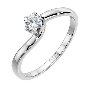 9ct white gold quarter carat diamond solitaire - Product number 8489467