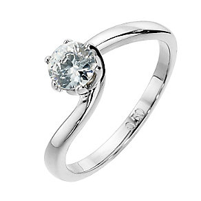 9ct white gold half carat diamond 6 claw solitaire - Product number 8490147