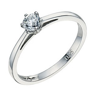 Platinum 1/4 carat 6 claw diamond solitaire ring - Product number 8490627