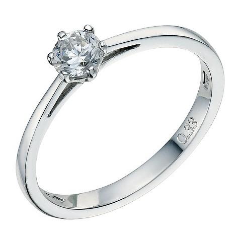 Platinum 1/3 carat 6 claw diamond solitaire ring