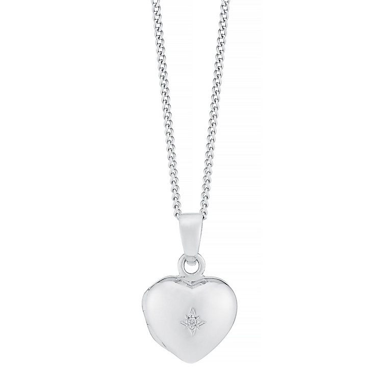 Sterling Silver Children's Diamond Set Heart Locket - Product number 8493006