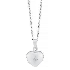 Sterling Silver Children's Diamond Set Heart Locket - Product number 8493006
