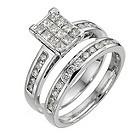 18ct white gold one carat diamond bridal ring set - Product number 8494819