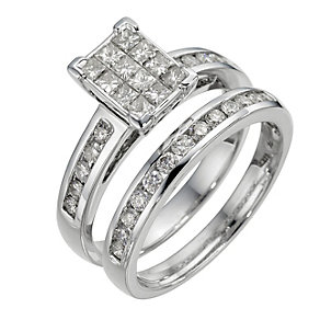 18ct white gold one carat diamond bridal ring set - Product number 8494819