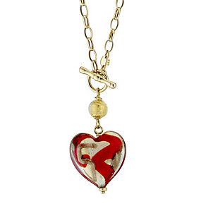 9ct yellow gold chain murano heart necklace - Product number 8495092