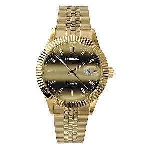 sekonda men s gold plated bracelet watch h samuel