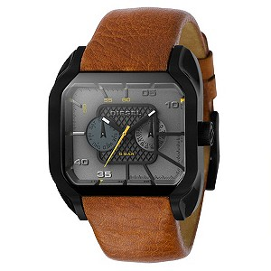 Diesel Sandstorm Square Dial Brown Leather Strap Watch