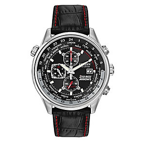 Citizen Men's Black Leather Strap Chronograph Watch - Product number 8495564