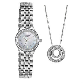 Citizen Ladies' Mother Of Pearl Stone Set Bracelet Watch - Product number 8495815
