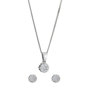 9ct white gold 1/3 carat diamond earrings & pendant set - Product number 8496129