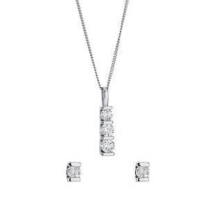 9ct white gold diamond trilogy earrings and pendant set - Product number 8496676
