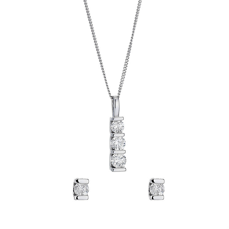 9ct white gold 2/3ct diamond trilogy earrings & pendant set - Product number 8496676