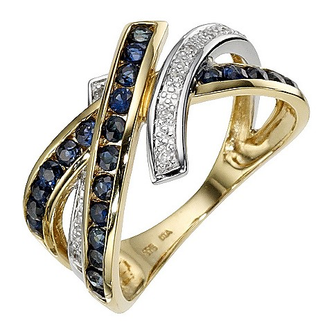 Ladies' 9ct yellow gold, sapphire crossover ring