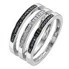 9ct white gold white & treated black diamond stack ring set - Product number 8497575