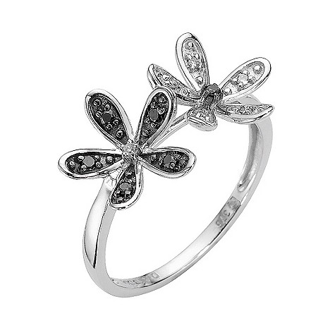 9ct white gold black and white diamond double flower ring