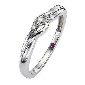 Cherished Silver Three Stone Diamond Twist Ring