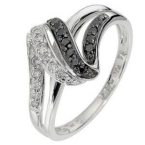 9ct white gold white & treated black diamond ring - Product number 8499810