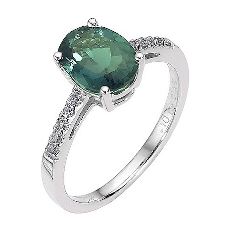 9ct white gold created emerald and diamond ring