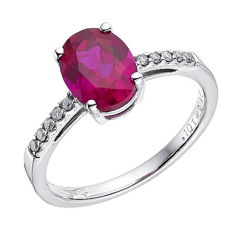 9ct white gold ruby/diamond ring