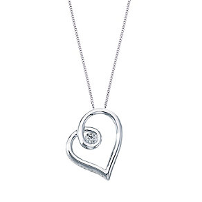 Love's Embrace 9ct white gold diamond set heart pendant - Product number 8500231