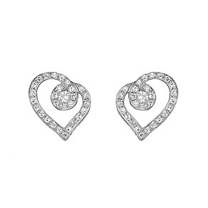 Love's Embrace sterling silver pave diamond heart earrings - Product number 8500274