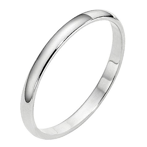 Platinum extra heavy weight d shape ring 2mm