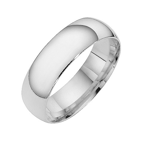 9ct white gold extra heavy court ring 6mm