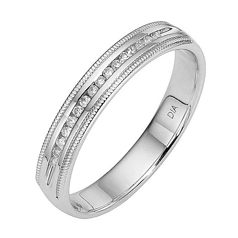 18ct white gold bead edge diamond ring