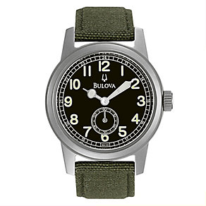 Bulova men's Green Canvas Strap And Black Dial Watch - Product number 8508569