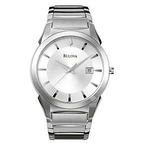 Bulova men's Round Date Dial Silver Bracelet Watch - Product number 8508968