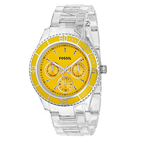 Fossil Ladies' Yellow Round Dial Clear Strap Watch - Product number 8509344