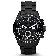 Fossil Decker Men's Black Ion Plated Bracelet Watch - Product number 8509735