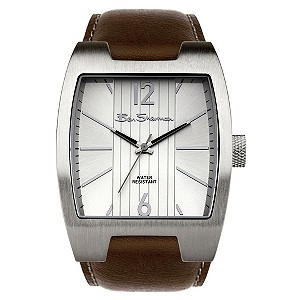 Ben Sherman Mens Silver Dial Brown Leather Strap Watch