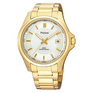 Pulsar Mens White Dial Gold Plated Bracelet Watch