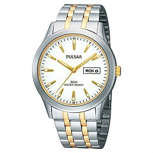 Pulsar Mens Two Colour Stainless Steel Bracelet Watch