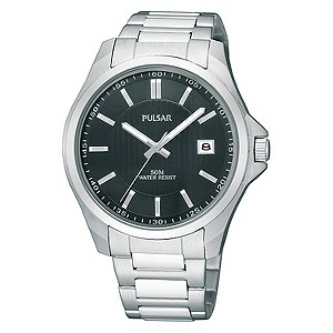 Pulsar Mens Black Dial Stainless Steel Bracelet Watch