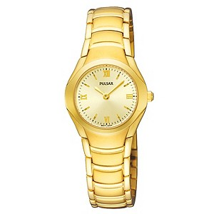 Pulsar Ladies White Dial Gold Plated Bracelet Watch